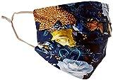 CODELLO Damen Mund Nasen Maske, Cover-Up, Besonders leicht | Blumen-Motiv | 100% Seide | OneSize, Navy Blue, Einheitsgröße