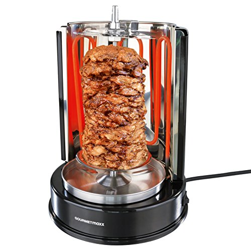 Gourmet Maxx 05914 Dönergrill Rotisserie (1400 Watt, Hähnchengrill mit Drehspieß, Gleichmäßige 360°C Hitzeverteilung, Gyros & Schaschlikspieße)