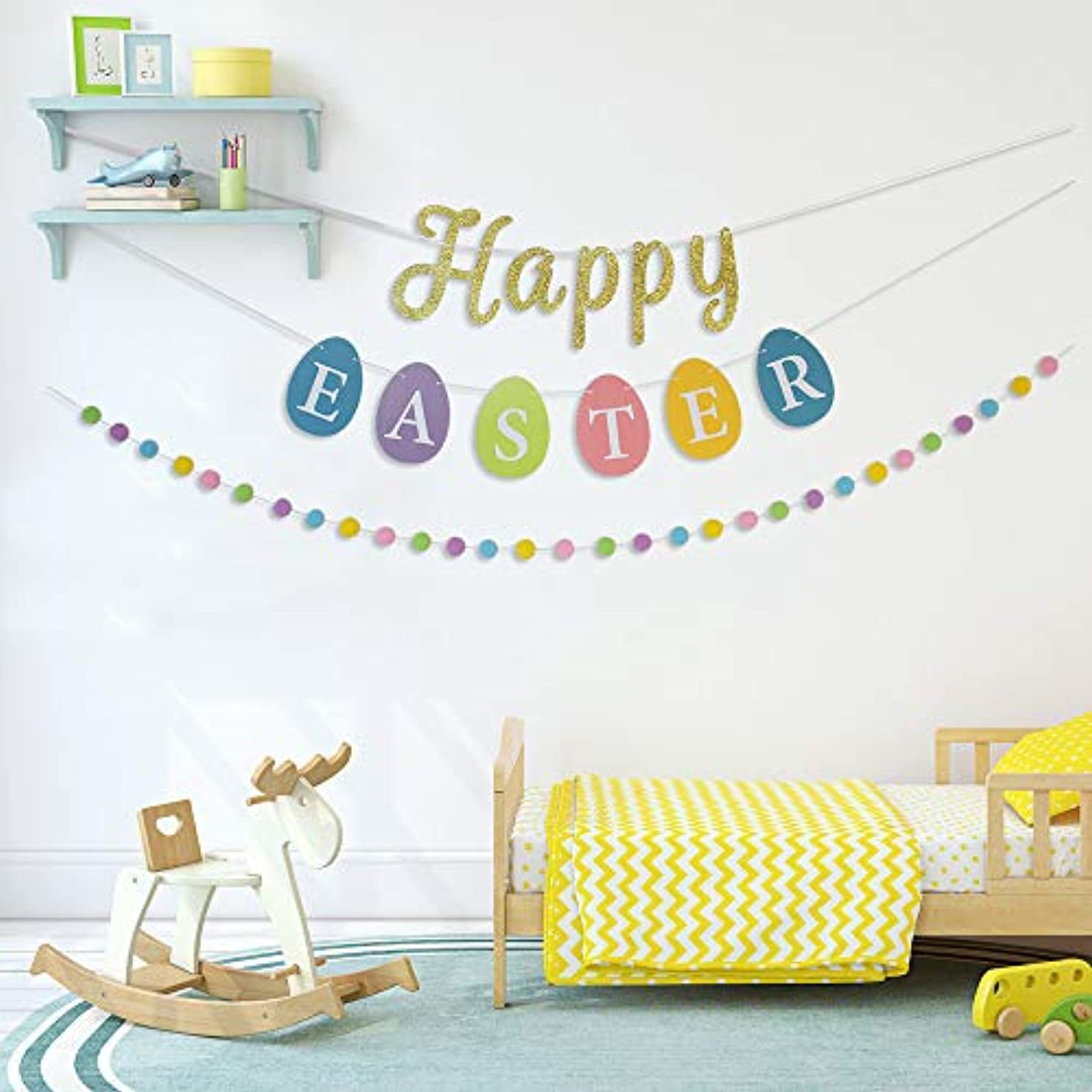 Happy Easter Banner Sign with Clover Garlands Hairy Balls String for Easter Days Decorations