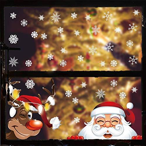 CMTOP 290 PCS Schneeflocke Fensteraufkleber Fensterbilder für Weihnachten Winter Dekoration Türen Schaufenster Vitrinen Glasfronten Spähen des Weihnachtsmanns Weihnachtselche