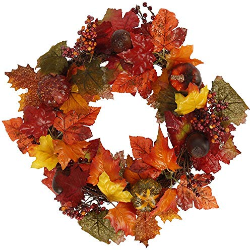XIAO WEI Artificial Maple Leaf Garlands Autumn Door Wreath Maple Artificial Garland for Harvest Festival Home Fecoration Door Knocker Christmas Halloween Decor (Burgundy Maple Leaf)
