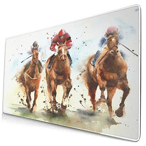 Extra Groß Spiele Mauspad mit Genähten Kanten,Pferderennen Reiten Sport Jockeys Wettbewerb Pferde Laufen Aquarellmalerei,Rutschfest Gummibasis Computer Tastatur Matte,29.5