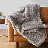 Amazon Basics Shaggy Long Fur Faux Fur Sherpa Throw Blanket, 50'x60' - Taupe
