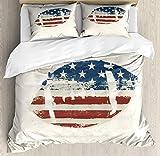Juego de funda nórdica deportiva, pelota de rugby cosida con temática de la bandera estadounidense de grunge, tema de fútbol de diseño vintage, juego de cama decorativo de 3 piezas con 2 fundas de alm