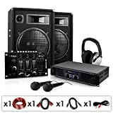 "DJ Set""Basstigall USB"" impianto audio completo PA (2 X casse altoparlanti AUNA 400 Watt totali, amplificatore Skytec, 2 microfoni, mixer USB, cuffie)"