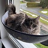 Blusea Grau Katzenbett Fenster, Sonnenbad Fensterplätze mit Katzendecke Flauschig Weich Waschbar und 3 Starken Saugnäpfe für die Fensterbank Geeignet für Katzen, Klein Hund, Kleintiere