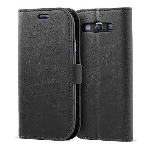 Mulbess Handyhülle für Samsung Galaxy S3 Hülle Leder, Samsung Galaxy S3 Handy Hüllen, Flip Handytasche Schutzhülle für Samsung Galaxy S3 / S3 Neo Case, Schwarz