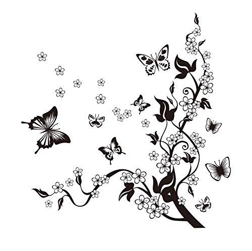 HALLOBO® XXL Wandtattoo Blumenranke 1 Wandtattoo 3 Kombinationen Wandaufkleber Schmetterlinge Wandsticker Wall Sticker Wohnzimmer Schlafzimmer Deko