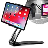 Desire2 Tablet Stand Wall Mount Adjustable, Stand 2-in-1 Kitchen Wall and Desktop, Vertical and Horizontal Viewing, Compatible with iPad Pro 10.5, 12.9, Kindle, E-Reader and more, 4 to 10 inch - Black