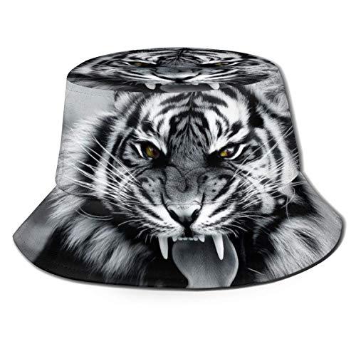 XCNGG Tigre Pescador Sombrero Plegable Unisex Senderismo Al Aire Libre Safari Gorra De Verano Viaje Playa Protector Solar Sombrero para El Sol Negro