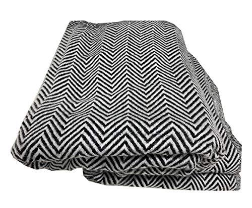 Schal-Wickeltuch mit Fischgrätenmuster, 8-lagig, dick, warm, superweich, groß, 209 x 145 cm, Schwarz / Weiß