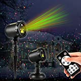 Christmas Laser Lights,Outdoor Projector lights with Remote Control,IP65 Waterproof,Red and Green Laser Light Show Garden Spotlight For Xmas Holiday Party Landscape Decoration