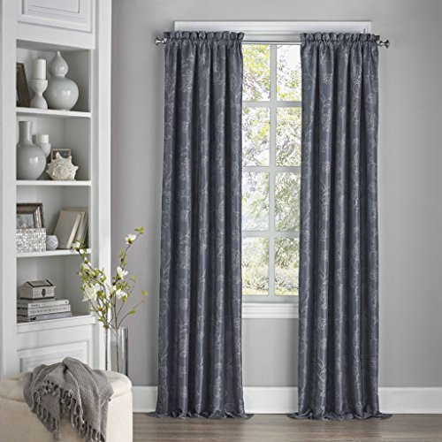 "ECLIPSE 52"" x 63"" Grommet Top Window Treatment Thermal Insulated Single Panel Rod Pocket Darkening Curtains for Living Room, Midnight"