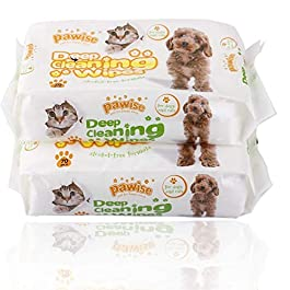 PAWISE Pet Grooming Wipes 140 Count Deodorizing & Hypoallergenic Cleaning Wipes for Dogs & Cats (Pack of 2) All Natural Pet Wipes