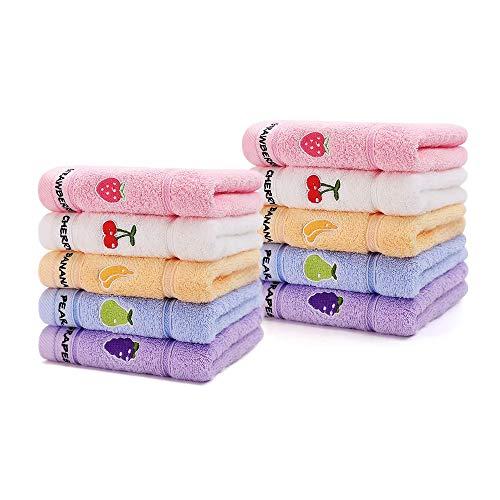 Adeer Gästehandtücher 10er Waschlappen 25 x 50 cm Weich für Baby Kinder Baumwolle