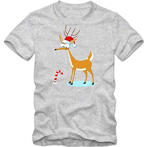 Weihnachtsrentier T-Shirt | Rudi | Zuckerstange | Heilig Abend | Weihnachten |Nikolaus | Frohes Fest | Herrenshirt, Farbe:Graumeliert (Grey Melange L190);Größe:XL