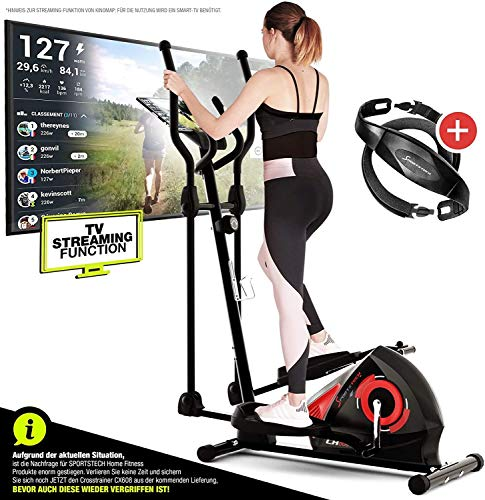 Sportstech CX608 Crosstrainer - Deutsche Qualitätsmarke - Video Events & Multiplayer APP & Bluetooth kompatibler Konsole, inklusive Pulsgurt, Ellipsentrainer,Tablet-Halterung-Ergometer