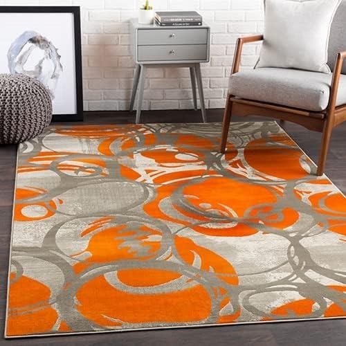 Riddleville Contemporary Modern Orange Gray 5'3