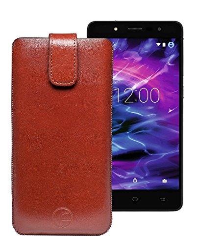 Original Favory Etui Tasche für MEDION® LIFE® E5005 (MD 99915) | Leder Etui Handytasche Ledertasche Schutzhülle Hülle Hülle Lasche mit Rückzugfunktion* in braun