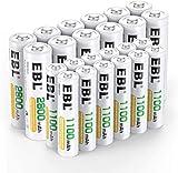 EBL 24PCS Kit AA et AAA Piles Rechargeables- avec 12x AA 2800mAh et 12x AAA 1100mAh Piles...