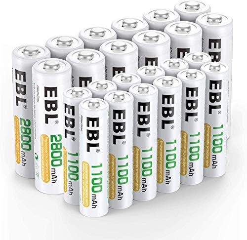 EBL 24PCS Kit AA et AAA Piles Rechargeables- avec...