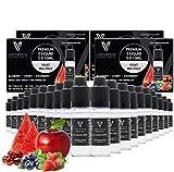 VAPOURSSON 20 X 10ml E Liquid gemischte Früchte, 0mg (Ohne Nikotin) Süßer Roter Apfel - Blaubeere - Kirsche - Erdbeere - Wassermelone - Hergestellt für elektronische Zigaretten und E Shisha