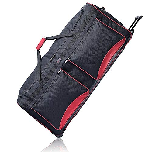Travel Duffel Bag by Humlin | Wheeled Holdall | Lightweight Duffle with Wheels for Men and Women (40', Black & Red)