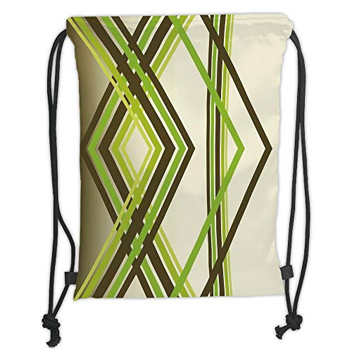 Drawstring Backpacks Bags,Abstract,Geometric Trippy Diamond Shape Bands in Different Shade Illustration,Army Fern and Lime Green Soft Satin,5 Liter Capacity,Adjustable String Closu