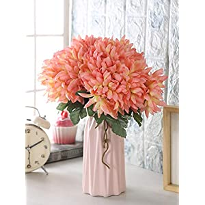 Fourwalls Artificial Polyester and Plastic Chrysanthemum Flower Bunch (10 cm x 10 cm x 30 cm, Peach)