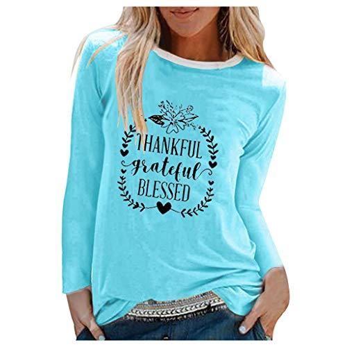 Xmiral Bluse Damen Langarm Rundhals Shirt Buchstabe Drucken Hemden T-Shirt Patchwork Beiläufiges Feiertags-Shirt Pullover(b Blau,S)