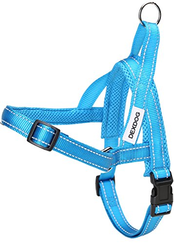 DEXDOG #1 Best Dog Harness — EZHarness On/Off Walk in Seconds! [Blue X-Large XL] — Easy Quicker Step in Dog Harness Vest — Puppy No Pull Reflective Mesh Handle Adjustable Training