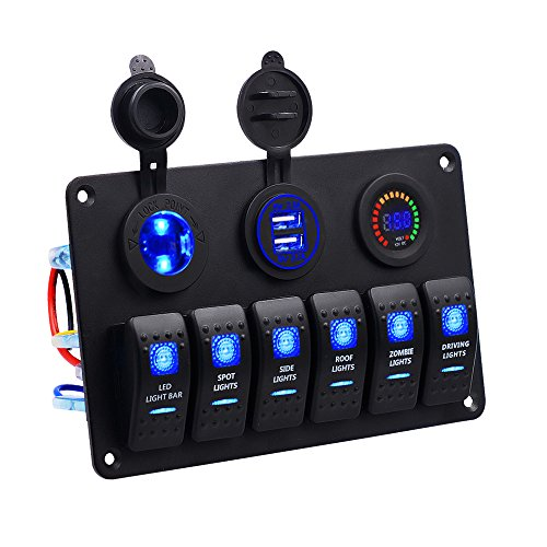 Panel de Dual Toma USB + 12V Voltímetro Digital LED +Encendedor de Cigarrillos +6 Interruptor para Coche Barco Marino Carvan Vehículos