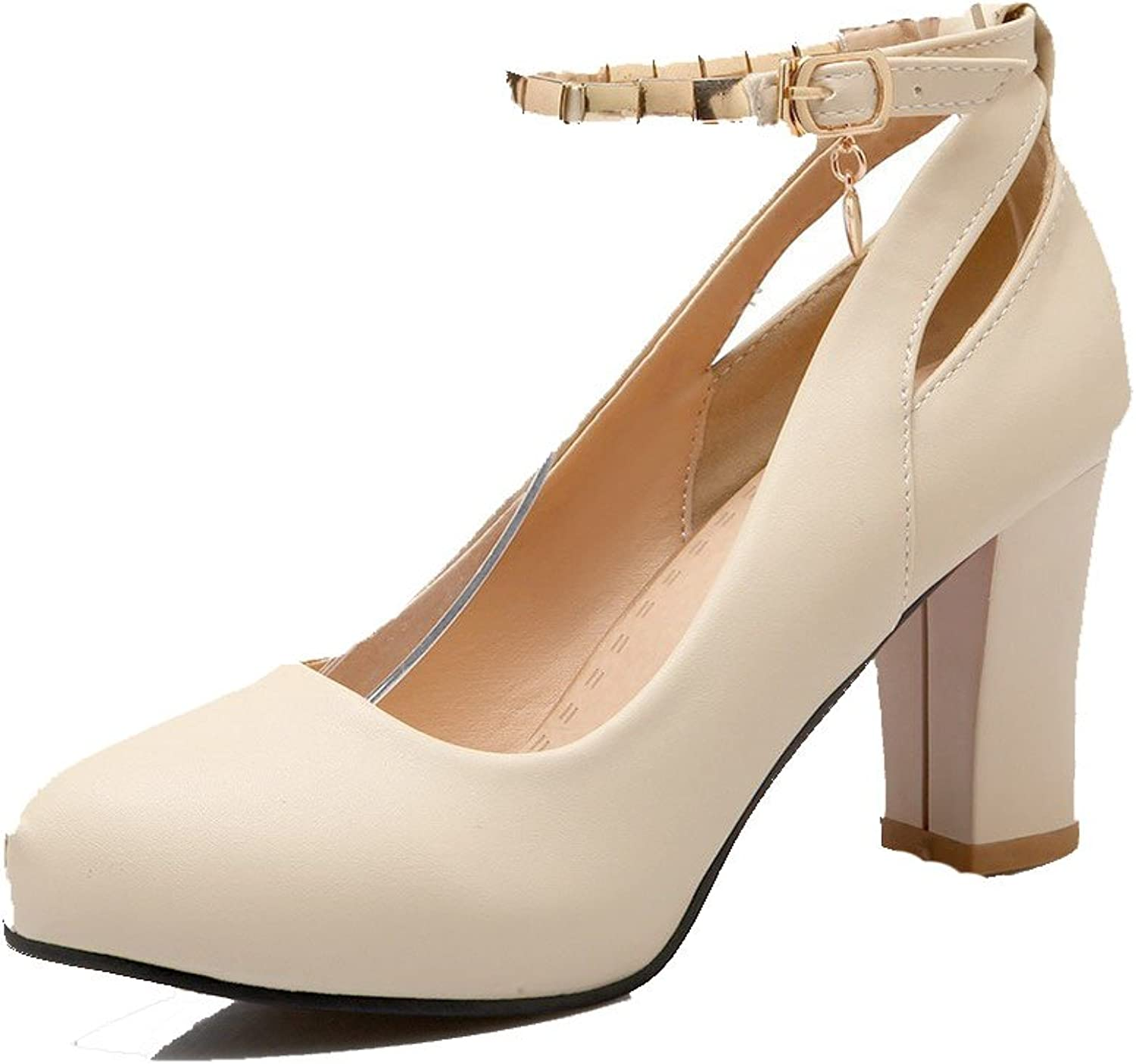 AmoonyFashion Women's Solid PU High-Heels Closed Round Toe Buckle Pumps-shoes