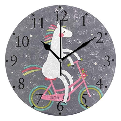 Bonito Unicornio de Dibujos Animados, Relojes de Pared para Bicicleta, Reloj de Pared Redondo Decorativo con Pilas para el hogar, Reloj de Cocina, Dormitorio, Sala de Estar, Aula, Reloj de Oficina