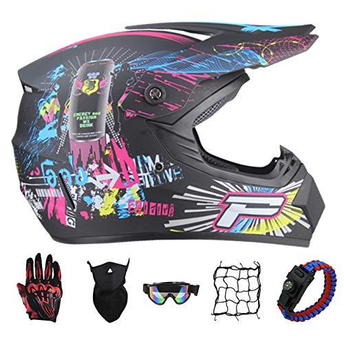 PNNNF Casco de motocross para nios y adolescentes, para bicicleta, mini motocross, cross, ATV Go  Kart  Rosa  XL (59  60)