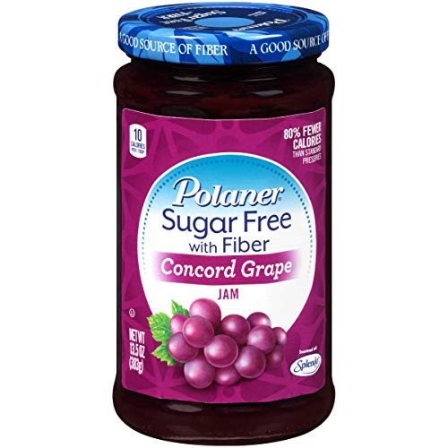 Polaner Sugar Free with Fiber, Grape Jam, 13.5 Ounce