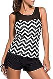 HOTAPEI Women Swimwear?Two Piece Tankini Tops Black White Zigzag Print XL