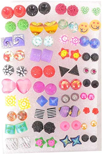 QRAFTINK® Assorted color & Assorted design small Design Stud Earrings With Plastic Back for Girls and Women Combo PACK (`EARING 25 PAIR)