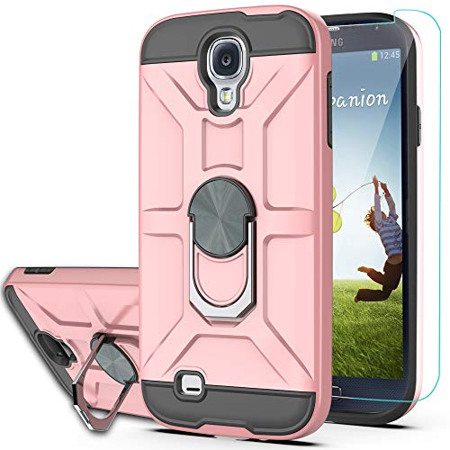 S4 Case Galaxy S4 Phone Case with HD Screen Protector YmhxcY 360 Degree Rotating Ring Kickstand Holder Dual Layers of Shockproof Phone Case for Samsung Galaxy S4-ZS Rose Gold