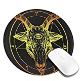 Pentagram Demon Baphomet Satanic Goat Head Third Eye Mousepad Non-Slip Rubber Gaming Mouse Pad Round Mouse Pads for Computers/Laptop/Home/School/Office