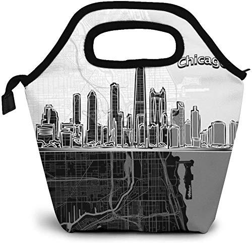 Horizonte de Chicago con mapa Bolsa de almuerzo aislada Caja de Bento personalizada Enfriador de picnic Bolso portátil Bolsa de almuerzo para mujeres, niñas, hombres, niños