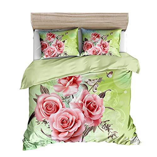 Funda nórdica Impresa Flor Color de Rosa 3D Juego de Cama de 2/3 Piezas, Material de Microfibra, diseño de Cremallera Cerrada (Rosa 06, 240cm x 220cm-Cama 150)