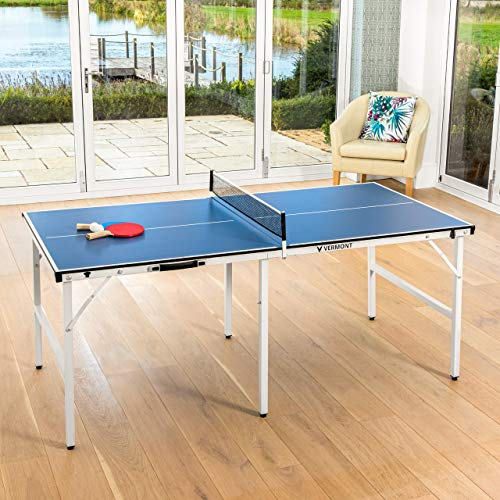 Vermont Mini Table Tennis Table Professional IndoorOutdoor Midi Ping Pong Table Bats Ping Pong Balls Included 6ft Foldable Table Table Tennis Set