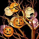 Luci decorative Halloween kit da assemblare con 10 led, lanterne 3D colorate a forma di zucca, diversi motivi, addobbi per feste