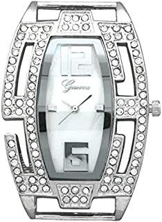Geneva Large Silver Watch Case with Rhinestones on Bezel, Mother of Pearl Dial (Silver)