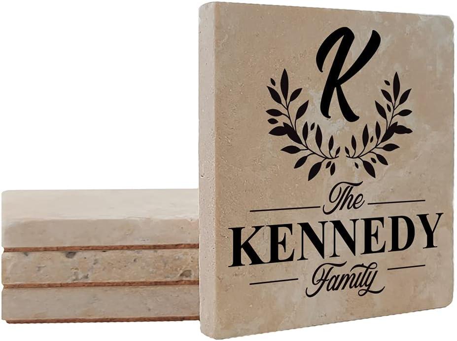 Krebs Personalized Regular dealer Family Monogram Coaster Manufacturer regenerated product 4-4
