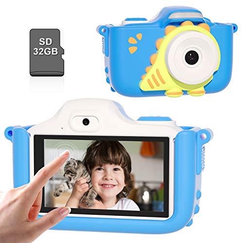 Kriogor Kinder Kamera, Digital Fotokamera Selfie und Videokamera mit 12 Megapixel/Dual Lens/ 2 Inch Bildschirm/ 1080P HD/ 32G TF Karte, Geburtstagsgeschenk für Kinder (Touchscreen-Blau)