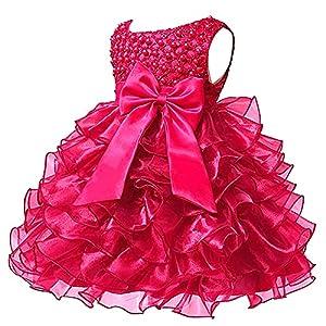 S&T ベビードレス 子供用ドレス 人気のベビードレス 結婚式 フォーマル セレモニードレス 女の子 新生児 誕生日 バラ色 80 1歳 8-13ヶ月