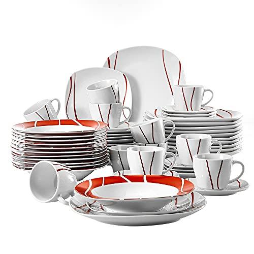 MALACASA, Serie Felisa, 60-TLG. Tafelservice aus Porzellan, Kombiservice Abgerundet Geschirrset Kaffeeservice für 12 Personen, Rot