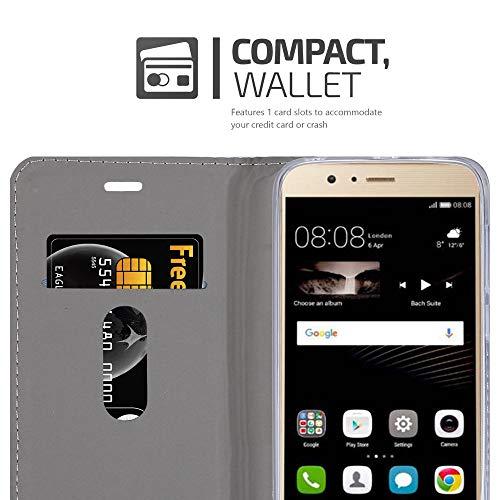 Cadorabo Hülle für Huawei P8 MAX - Hülle in HELL GRAU BRAUN – Handyhülle mit Standfunktion und Kartenfach im Stoff Design - Case Cover Schutzhülle Etui Tasche Book - 4